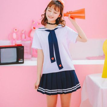 Women's Preppy T Shirt Harajuku Kawaii Tee Tops Short Sleeve Tshirt Female Summer Fashion T-shirt Sailor Shirt HT7352
