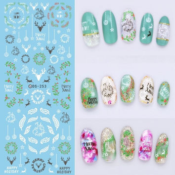 DS253 DIY Designer Water Transfer Nails Art Sticker White Deer Peach Green Leaf Rattan Nail Wraps Foil Sticker manicure stickers