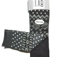 NWT Set of 2 Pairs Womens Knee High Socks Black FAIR ISLE & DOTS / Solid Ruffled