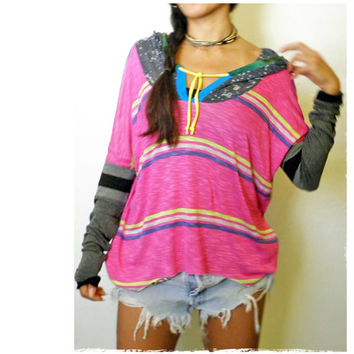 Get Loose Hoody Pink Stripy Patch Contrast Sleeves Sport Tunic