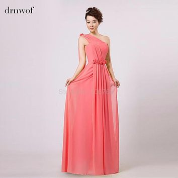 Free Shipping Plus Size 2017 NEW women bridesmaid wedding one shoulder pleated formal party long chiffon under 50$ coral dress