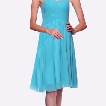 Short Bridesmaid Mint Dress Knee Length Pleated Bodice