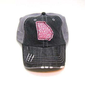 Georgia Trucker Hat - Distressed - Floral Fabric State Cutout