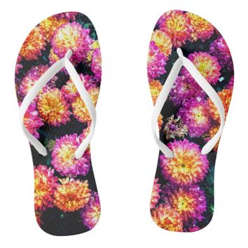 Purple and Orange Floral Flip Flops
