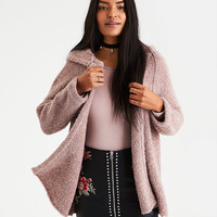 AE Slouchy Hooded Boucle Cardigan, Pink