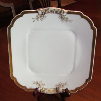 Haviland Limoges, Charles Field white with gold trim Bon Bon plate