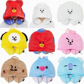 KPOP BTS Bangtan Boys Army    Boy BT21 Cute Hooded Travel Pillow U-Shaped Neck Compact Plane Air Cushion Warm Bolster BT21 NECK PILLOW HOODIE AT_89_10