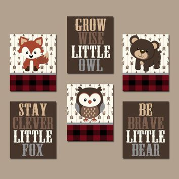 WOODLAND Animals Nursery Wall Art, Buffalo Plaid Lumberjack Nursery Decor, WOODLAND Animals Decor, Woodland Quotes, Canvas or Print Set of 6