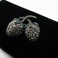 Weiss Strawberry Pin with Marcasite Rhinestones