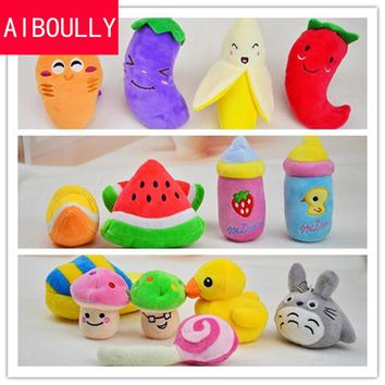 New Dog Toys Pet Puppy Chew Squeaker Squeaky Plush Sound Radish Banana & Pepper Watermelon Toys