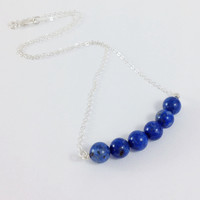 Lapis Lazuli Necklace, Cobalt Blue Natural Stones, Sterling Silver Jewelry