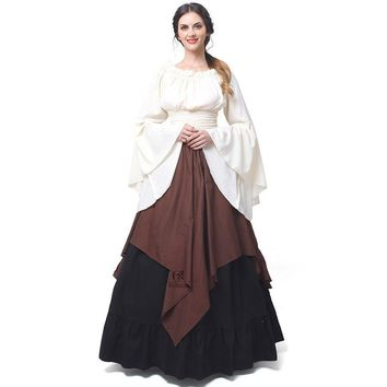 New Pattern Party Long Sleeve Dress Female Sexy Renaissance Medieval Times Clothes