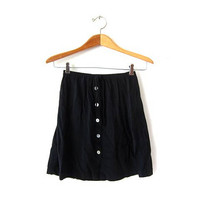 Vintage 90s Black Mini Skirt. Button Front Modern Minimal Skirt. High Waist Skirt. Sea Shell Buttons + Drawstring Skirt. Rayon Skirt.