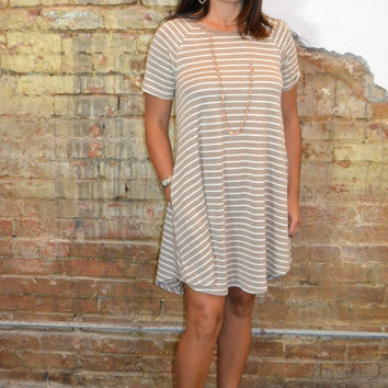 Speak the Truth Striped Dress: Latte