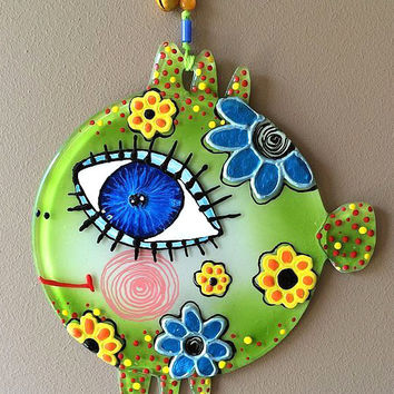 Handmade Satisfied fish glass fusing techniques gift lovers mothers sister family amulet talisman simbol