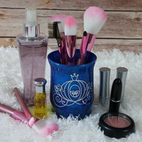 Makeup Brush Holder - Makeup Organizer - Desk Organizer - Pen Holder - Pencil Holder - Sapphire Blue Glitter / Cinderella Carriage
