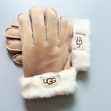 UGG Winter Woman Men Warm Fur Gloves Khaki
