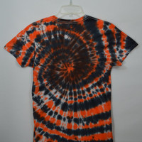 Halloween Tie Dye Shirt Small Men Soft Grunge Hippie Spiral Handmade Women Unisex Clothing Orange Black T Shirt Hipster Fall Autumn