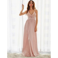 Pink Deep V Neck Lace Pleated Waist Slip Maxi Dress