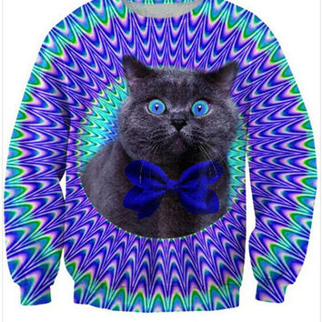 Hypnotized Cat Crew Neck Sweatshirt Men & Women Trippy Harajuku Style All Over Print Blue Sweater