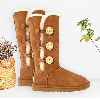 """UGG"" Boots Women Fashion Wool Snow Boots three Button Brown"