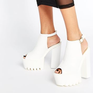 Daisy Street Mollie White Heeled Sandals