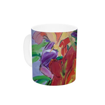 "Cathy Rodgers ""Matisse Styled Lillies"" Rainbow Flower Ceramic Coffee Mug"