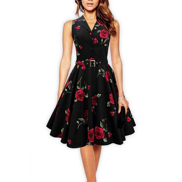 Women Vintage Dress Rose Floral Print 50s 60s Rockabilly Ruched Elegant Sleeveless Casual Sexy Tunic Evening Party Dresses