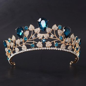 New Arrival Magnificent Blue Red Rhinestone Bridal Crown Tiaras Fashion Golden Diadem for Women Wedding Hair Accessories Jewelry