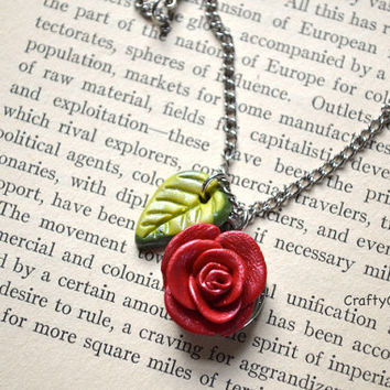 Rose Necklace - Rose Pendant - Polymer Clay Necklace - Flower Necklace - Nature Necklace - OOAK Necklace - Floral Necklace - Bridesmaid Gift