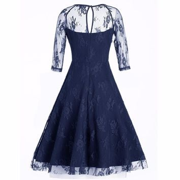 Women New Vintage Lace Formal Patchwork Wedding Cocktail Party Retro Swing Dress