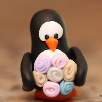 Egbert the Penguin and the Rose Bouquet, polymer clay, animal miniature, arctic bird figurine, penguin sculpture, pocket totem
