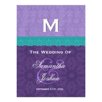 Purple and Teal Wedding Program V1C Personalized Invitation