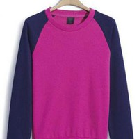 Purple Collision Color Raglan Sleeve Sweatshirt S001393