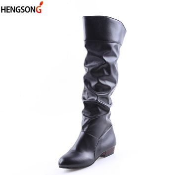Fashion Women Boots 2018 Spring Boots Botas Female Stretch PU Leather Boots Shoes Woman Black White Roma Knee-Length Boots