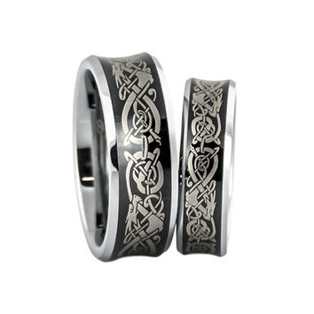 Tungsten Wedding Band Set With Dragon Engraving