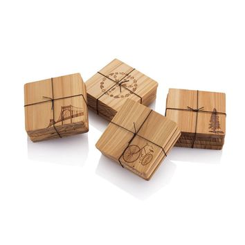Cedar Wood Coasters with Motif (set of 4)