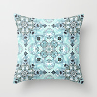 Soft Mint & Teal Detailed Lace Doodle Pattern Throw Pillow by Micklyn