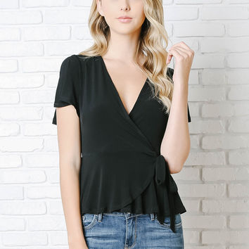 Madeline Wrap-Front Peplum Top