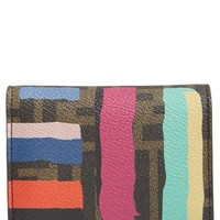 Women's Fendi 'Zucca Chalks' Leather French Wallet - Brown