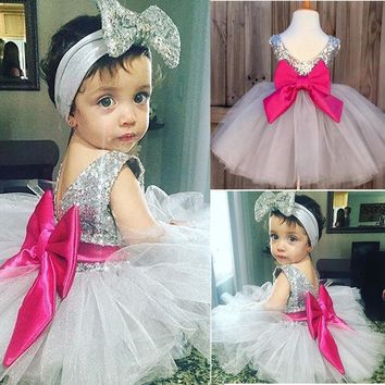 0-4Y Baby Dress Cute Kids Girls Clothes Bow Sequined Princess Dress Little Girl Ball Gown Tutu Party Dress