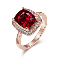 Rose Gold Plated Main Ruby Red Cocktail Ring