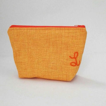 personalized cosmetic bag, yellow orange cosmetic bag, cotton zipper pouch