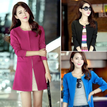 Candy Color Long Sleeve Button Slim Casual Women Blazer Suit Jacket Coat Outwear  SV003148