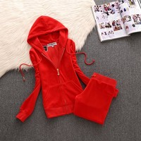 Juicy Couture Simple Pure Color Velour Tracksuit 611 2pcs Women Suits Red