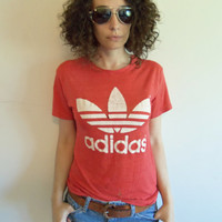 Vintage Red Extremely Distressed Adidas Paper Thin and Soft T Shirt