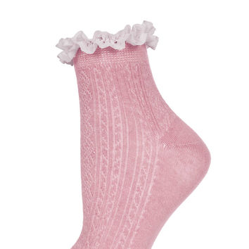 Dusty Rose Lace Trim Ankle Socks