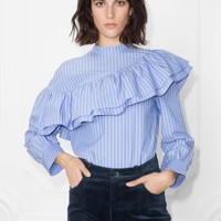 & Other Stories | Striped Cotton Shirt | Blue Striped