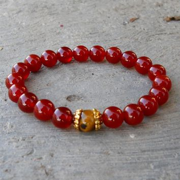 Prosperity and Stability - Carnelian and Tiger's Eye Genuine Gemstone Yoga Mala Bracelet