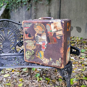 Antique Grain Leather  Rustic Square Suitcase with Vintage Travel Decals